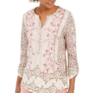 Style & Co Printed Textured Knit Top